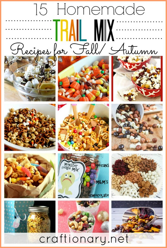 ... Home and Garden Ideas - 15 Homemade trail mix recipes for Fall/ Autumn